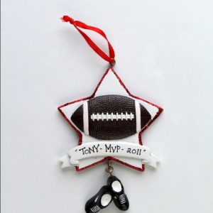 Football With Red Glitter Star with Banner