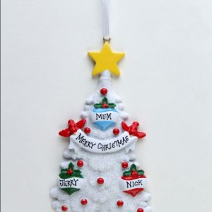 Glitter White Christmas Tree 3 Baubles
