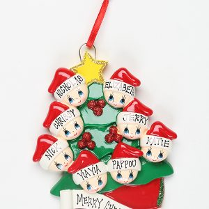 Christmas Tree with Gold Star - Family of 8