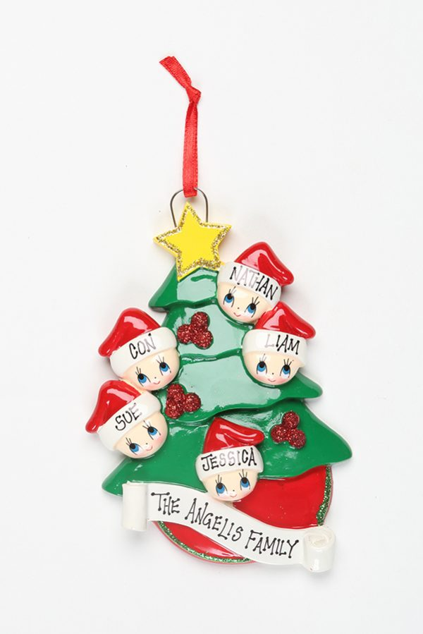 Christmas Tree with Gold Star - Family of 5