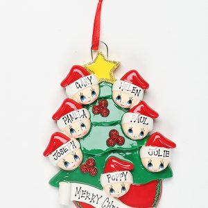 Christmas Tree with Gold Star - Family of 7