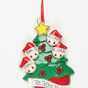 Christmas Tree with Gold Star - Family of 4
