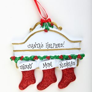 WHITE MANTEL WITH GLITTER STOCKINGS - FAMILY OF 3