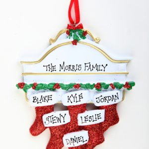WHITE MANTEL WITH GLITTER STOCKINGS - FAMILY OF 6