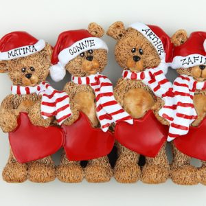Santa Hat Teddy Bears Tabletop – Family of 4