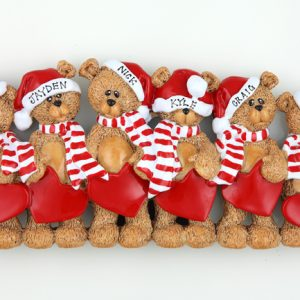 Santa Hat Teddy Bears Tabletop – Family of 6