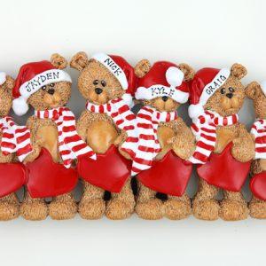 Santa Hat Teddy Bears Tabletop – Family of 6