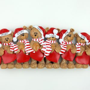 Santa Hat Teddy Bears Tabletop – Family of 8