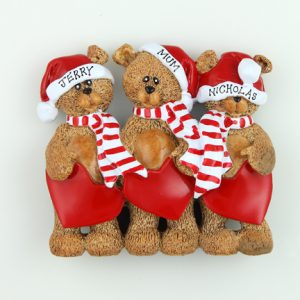 Santa Hats Teddy Bear Tabletop - Family of 3