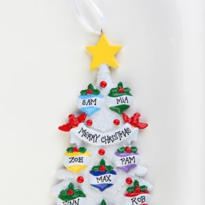 WHITE GLITTER CHRISTMAS TREE 8 BAUBLES