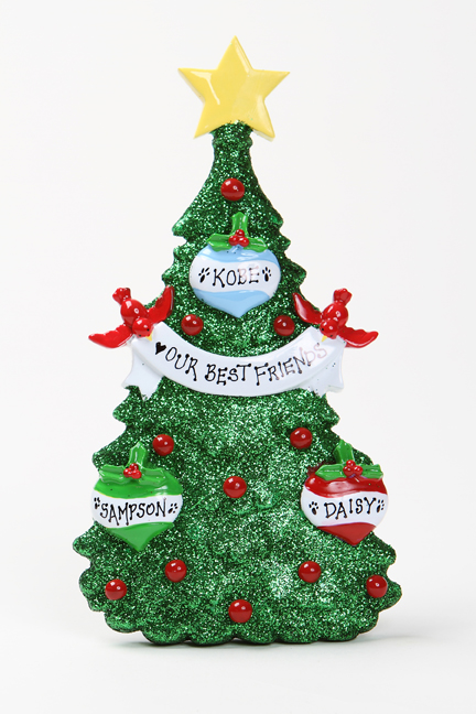 GREEN GLITTER CHRISTMAS TREE TABLETOP - FAMILY OF 3