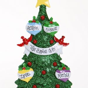 GREEN GLITTER CHRISTMAS TREE TABLETOP - FAMILY OF 4