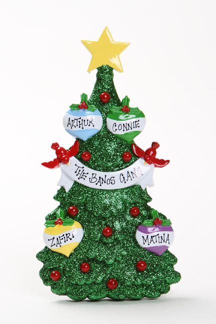 GREEN GLITTER CHRISTMAS TREE TABLETOP - FAMILY OF 4
