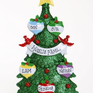 GREEN GLITTER CHRISTMAS TREE TABLETOP - FAMILY OF 5