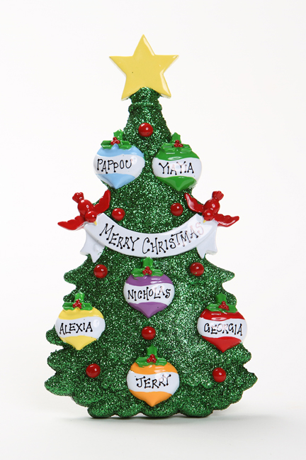GREEN GLITTER CHRISTMAS TREE TABLETOP - FAMILY OF 6