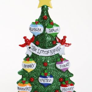 GREEN GLITTER CHRISTMAS TREE TABLETOP - FAMILY OF 7