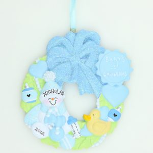 Baby's 1st Christmas Wreath in Baby Blue